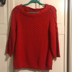 Zara Knit Red Cotton Sweater, size Small NWT